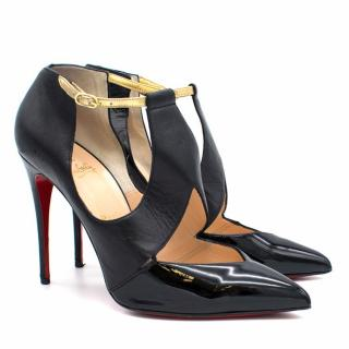 Christian Louboutin Black Leather Heels with Gold Strap