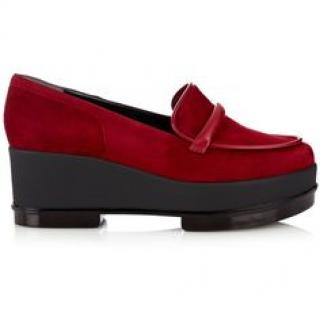 Robert Clergerie Red Suede Yokolej Platform Penny Loafer