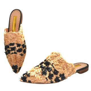 Rupert Sanderson Rippling woven raffia slippers