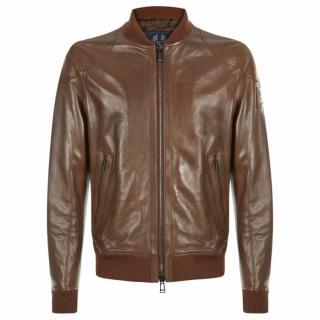 Belstaff Ashgate Brown Leather Bomber Jacket