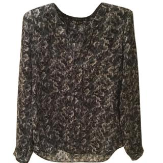 Theory silk patterned blouse