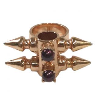 Mawi rose gold plated brass Spike Tube and metalic Pearl Ring