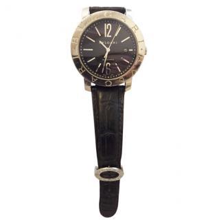 Bvlgari Unisex large model steel/leather watch