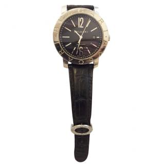 Bvlgari Unisex large model steel/leather watch
