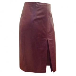 Elie Tahari Burgundy Soft Leather skirt