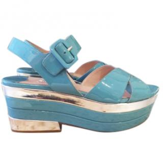 Mui Mui Blue and Silver Patent Leather Platform Sandals