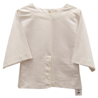 Celine Ivory cotton fitted top