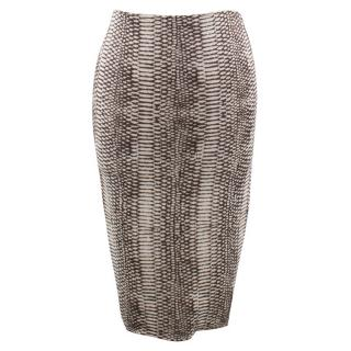 Lanvin Snake Print Pencil Skirt