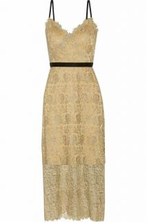 Catherine Deane 'Ivette' Metallic Guipure Lace Midi Dress