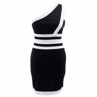 Balmain Black and White One- Shoulder Dress