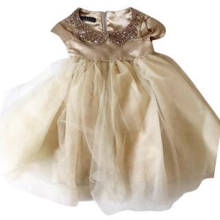 Kate Mack  'Her Majesty' Gold Biscotti Dress 9-24 Months