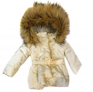 Monnalisa off white faux fur hood jacket age 12m 9/12 months