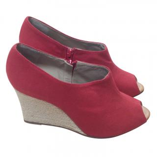 Christian Louboutin red canvas Wedges