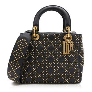 Lady Dior Bag In Black Glazed Studded Calfskin