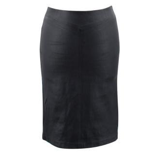 Joseph Black Leather Pencil Skirt