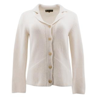 Loro Piana Off White Cashmere Cardigan