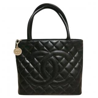 Chanel black quilted medallion tote bag