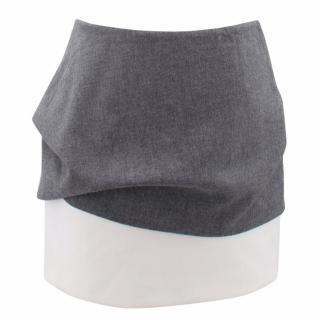 Maje Grey and White Wool Mini Skirt