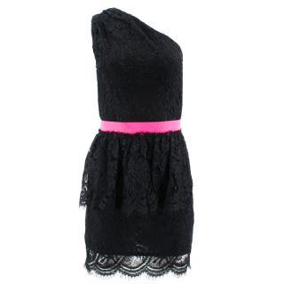 MSGM Black Lace Dress with Pink Belt