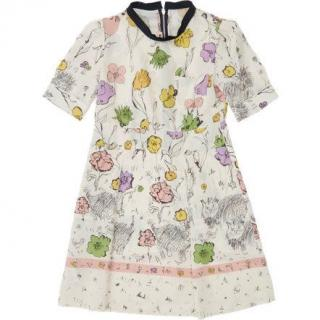 New MARNI multicolor floral and cat print Dress Age 12 YR