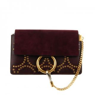 Chloe Faye Small Studded Circle Suede & Leather Shoulder Bag