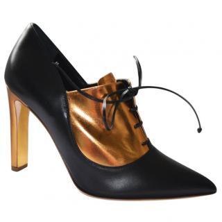 Rupert Sanderson Zena Black/Gold Calf Leather Ankle Booties/Shoes