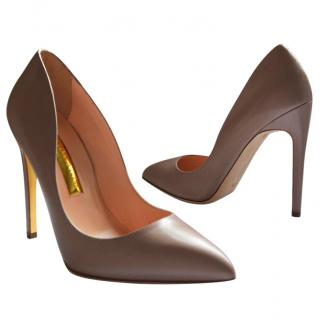 Rupert Sanderson Elba Mushroom/Beige leather High Heel Pumps