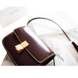 Celine Burgundy Spazzolato Box Bag