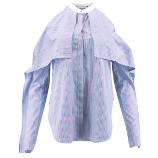 Rosetta Getty Pinstriped Cold Shoulder Shirt