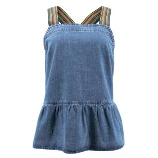 MIH Jeans Denim Multistriped Straps Top