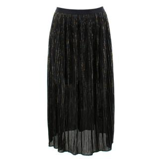 Rosetta Getty Black with Gold Thread Pleated Skirt