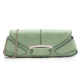 Tod's Green Lizard Print Clutch Bag