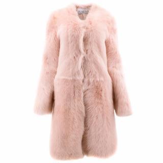 Raey Barley Sugar Pink Sheepskin Fur Coat UK 8/10