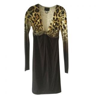 Roberto Cavalli Leopard print body con dress