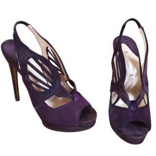 Nicolas Kirkwood purple suede heels