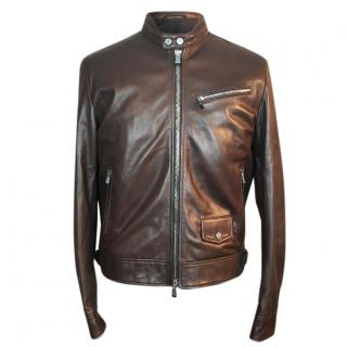 Hackett Aston Martin Leather Cafe Racer Biker Jacket