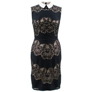 Lover Black Lace Dress with White Collar