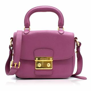 Miu Miu Madras Purple Leather Crossbody Bag