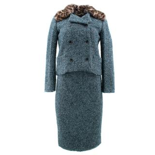 Gucci Green Tweed Suit with Fur Collar