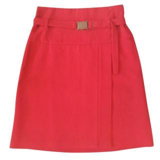 Strennesse red woolen midi skirt