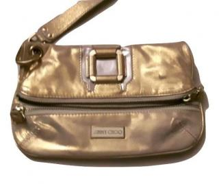 Jimmy Choo Metallic Gold Leather Mave Foldover Clutch