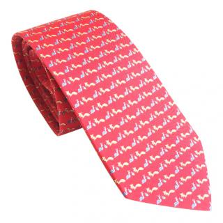 SALVATORE FERRAGAMO red snail with fox printed tie