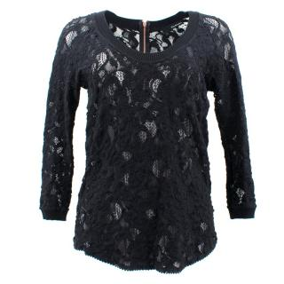 The Kooples Black Lace Top