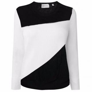 A.L.C Black and White Cotton Davis Sweater
