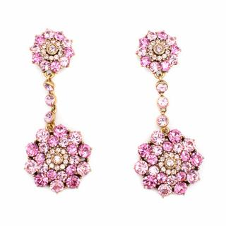 Oscar De la renta Pink Rhinestone Drop Earrings