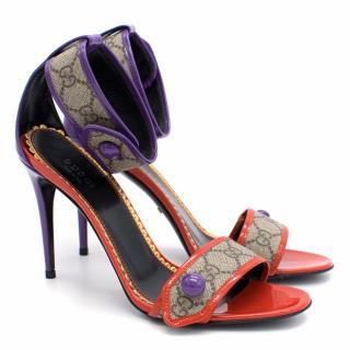 Gucci GG Supreme Purple and Red Sandals
