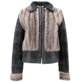 Bally Tweed Jacket with Mink Fur Body and Sleeves