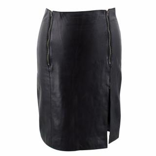 Maje Black Leather Pencil Skirt