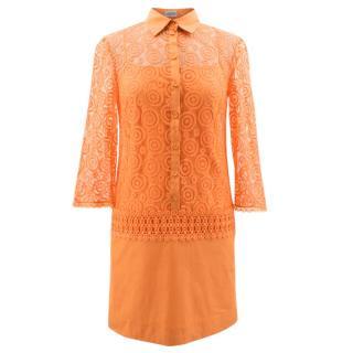 Philosophy di Alberta Ferretti Orange Lace Shirt Dress