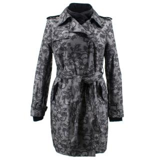 Valentino Lace-Overlay Short Trench Coat